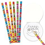 Baker Ross Bleistifte Lustige Gesichter für Kinder als kleine Überraschung oder als Preis bei Partyspielen (12 Stück)
