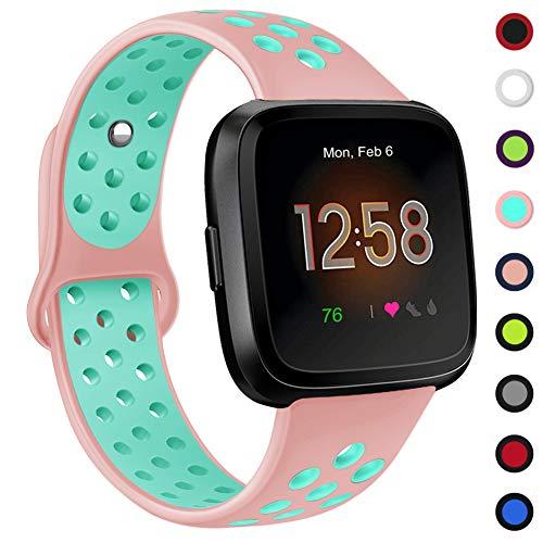 Onedream Bracelet pour Fitbit Versa/Versa Lite, Bande en Silicone Sport Remplacement Réglable Sangle Accessoire Compatible avec Fitbit Versa/Versa Lite Se pour Femme & Homme, Petit Grand