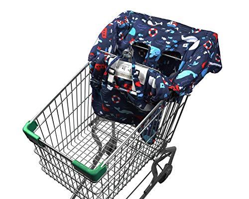Supremery Einkaufswagenschutz mit Haltegurt | Hochstuhl-auflage Hochstuhl-einlage | Sitzverkleinerer Kindersitz Sitzbezug für Baby und Kinder