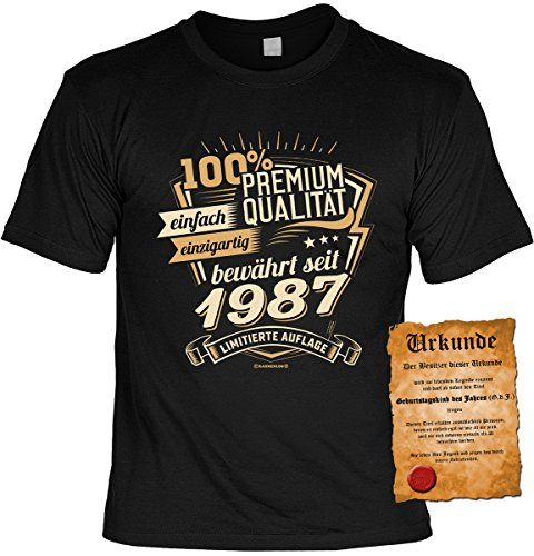 T-Shirt zum Geburtstag - 100% Premium Qualität, einfach einzigartig bewährt seit 1987 - Im SET mit gratis Urkunde - Geschenk - schwarz Schwarz