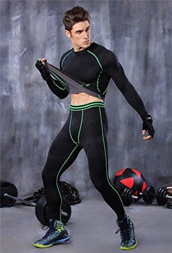 Sport Radfahren zytan Anzüge, Kostüme, Langarm, Hose, Basketball, Ausbildung, elastisch-Kompression, schnelltrocknend, LEOTARDOS XL Schwarz / Grün (Langarm-ausbildung Schwarzes)