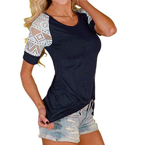 Damen T-shirt Spitze Ärmel, Sunday Damen Mode Frauen Sommer Bluse Casual Tops Spitze T-Shirt T Kurzarm Mode Shirt (EU 42, Dunkelblau)