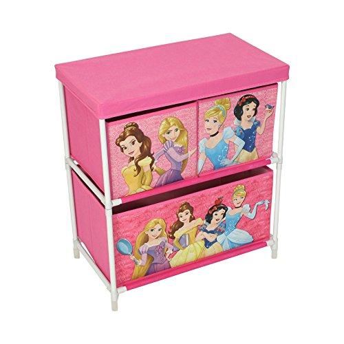 Disney Princess Kids Toy Storage Unit 2 Tier, 3 Drawer Organiser 60 x 53 x 30cm Girls Pink Fabric Storage Solution Furniture, Storage Baskets/Bins for Playroom, Bedroom or Living Room by Disney