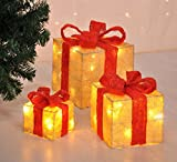 Bambelaa! Led Deko Leucht Geschenk Boxen - 3er Set inkl. Timer Funktion - Weihnachts Dekoration Weihnachtsdeko Beleuchtungsartikel Gelb