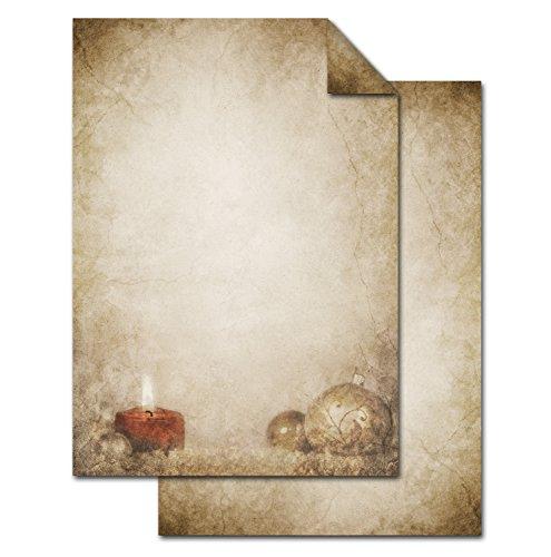 ANGEBOT: 25 Blatt Weihnachtsbriefpapier Briefpapier Weihnachten weihnachtlich vintage KUGEL KERZE...