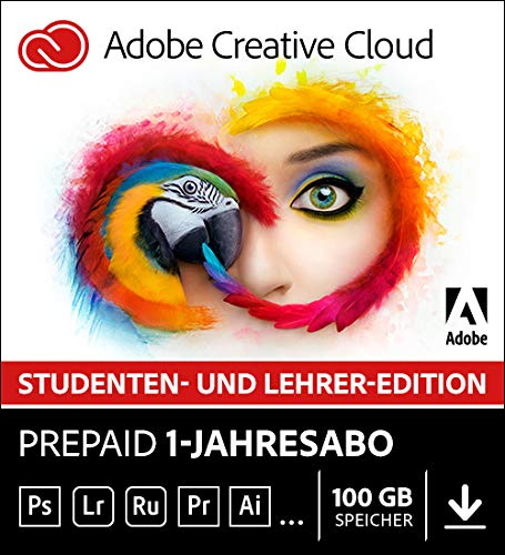 Adobe Creative Cloud Multilingual Student und Teacher | 1 Jahreslizenz | PC/Mac | Online Code & Download