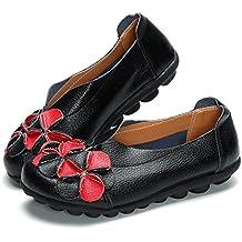 gracosy Mocasines para Mujer Primavera/Verano Vintage Flores Hechas a Mano Zapatos de Cuero Estilo