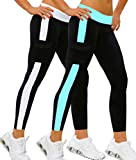 iLoveSIA Pack 2pcs Damen Sport Hose Leggings Hosen Lange Stretch Running Pants Weiß&Himmelblau,L