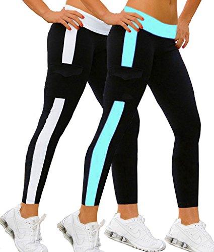 2x Jogging damen Legging hose sports Lange Strumpfhosen schwarz/Weiß+Himmelblau,M (Damen-yoga-hosen 2x)
