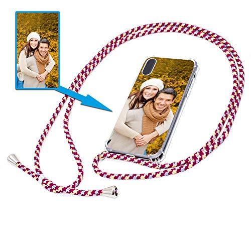 PixiPrints Personalisierte Handykette Foto-Handyhülle mit Band selbst gestalten * Bedruckt mit eigenem Foto und Text, Kompatibel mit Apple iPhone XS Max, Farbe: Rot Blau Gelb