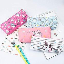 EUGU 4Pack Precioso Unicornio Caja de Lápices Monedero Bolsa Cosmética Maquillaje Bolsa para Niños Lindo Unicornio Regalos para Niñas (pencil case Lienzo)
