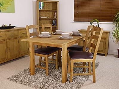 Nebraska Oak - 120cm-150cm Extending Dining Set / Table and 4 Padded Chairs