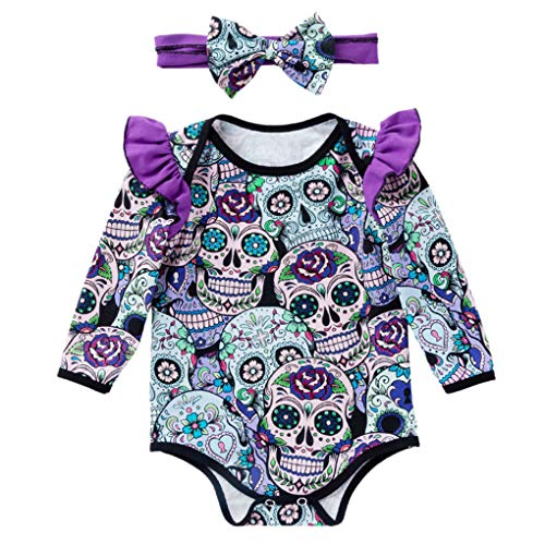 Kakiyi 2ST Baby-Langarm-Body Skeleton Karikatur Neugeborenes Kostüm mit Stirnband (Monate Halloween-kostüme Baby Altes 11)