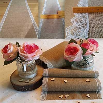 Juteläufer,10-Meterrolle!!!!!, mit Spitze, Tischläufer im Vintage Stil für Hochzeiten