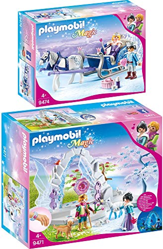 PLAYMOBIL Magic 2er Set 9471 9474 Kristalltor zur Winterwelt + Schlitten mit Königspaar