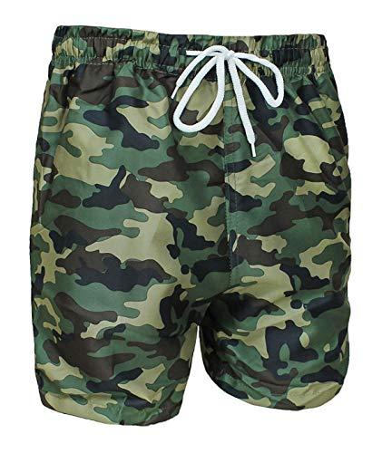 Evoga - Bañador para Hombre, diseño de Camuflaje Militar Verde XXL