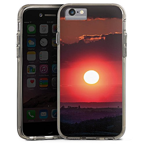 Apple iPhone X Bumper Hülle Bumper Case Glitzer Hülle Sonnenuntergang Landschaft Romantik Bumper Case transparent grau