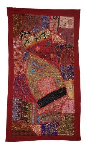 Traditionelle indische Designer Wandbehang Wandteppich mit Golden Zari, Stickerei und Patchwork Old Sari, 152 X 51 cm (Sari Golden)