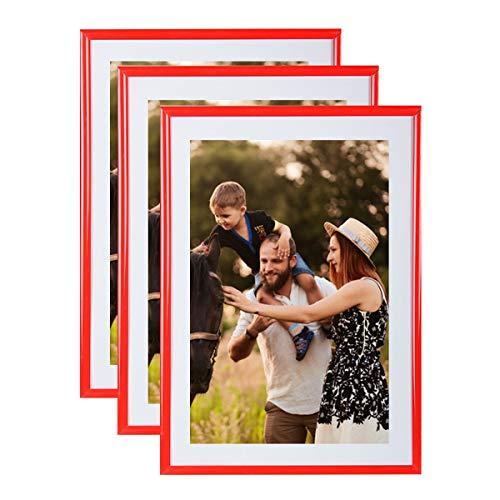 Conjunto 3 marcos foto 15x21 cm rojo - resina marco