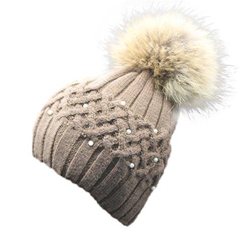Femmes Tricoter Casquette, Reaso Hiver Purl Crochet Hat fourrure laine Cap chaud Beanie Raccoon Marron