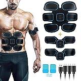 TWGEE Electroestimulador Muscular Abdominales USB Recargable Masajeador Eléctrico Cinturón EMS Trainer para Abdomen Brazo Piernas, con 10 Gel Hojas