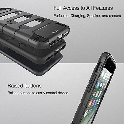 Étui iPhone 7 Plus, Étui protecteur ProCase Premium Hybrid Armor Cover pour Apple iPhone 7 Plus 5.5 pouces 2016 - Noir Noir