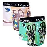 Bongual 2-4St Geschenkidee Herren Retroshorts Unterhose Baumwolle Spass Motive Geldscheine Euroscheine Witz (M, 2xEuro)