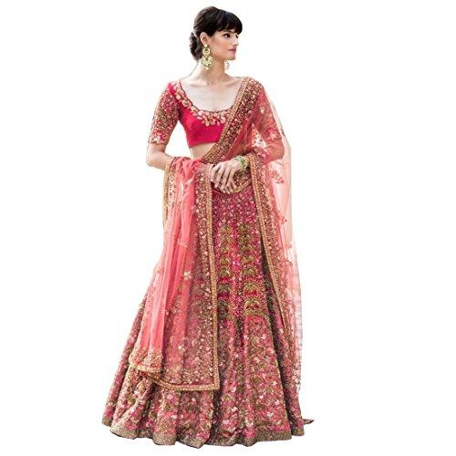 Stella Creation Women's Satin Lehenga Choli With Blouse Piece (STLA-797_Pink_Free_Size)