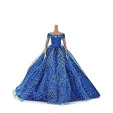Elegante Puppe Kleid Mode-Stil Hochzeit Nachgestellte formales Kleid handgemachte Partei-Kleid für Barbie-Puppen Blau