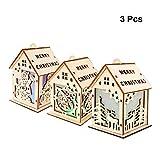 BESTOYARD 3PCS Weihnachtsdorf Weihnachtshaus Holz Christbaumschmuck Anhänger Baumbehang Beleuchtete Weihnachtsdeko Größe L