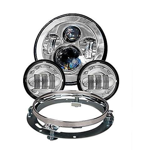 Eagle lumières 8700Chrome Harley Daymaker Phare LED avec Chrome assorti Passes lamps pour Harley Davidson motos avec bague d'adaptation