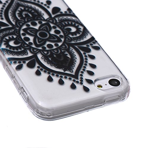 iPhone 5C Hülle,iPhone 5C Hülle Silikon,NSSTAR® iPhone 5C Silikon Hülle [Kristallklar Durchsichtig],Malerei Muster Stoßdämpfend Transparent TPU Silikon Schutz Handy Hülle Case Tasche Silikon Crystal C Schwarz Spitze Lace Blumen #5