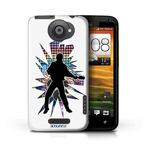 Kobalt® Imprimé Etui / Coque pour HTC One X / Rock n Roll Noir conception / Série Rock Star Pose Elvis Blanc