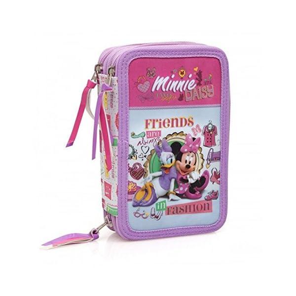 Disney Minnie 31324 Estuche 3 bisagras, plumier Triple, 44 Piezas, Daisy