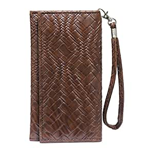 Jo Jo A5 Bali Leather Wallet Universal Pouch Cover Case For Samsung Galaxy S 2011 Edition Dark Brown