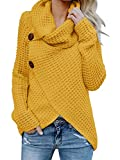 Pxmoda Damen Rollkragenpullover Warmes Kabel Gestrickte Lose Knopf Wrap Asymmetrische Pullover Tops (XX-Large, Gelb)
