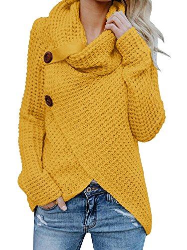 Pxmoda Damen Rollkragenpullover Warmes Kabel Gestrickte Lose Knopf Wrap Asymmetrische Pullover Tops (Small, Gelb) -
