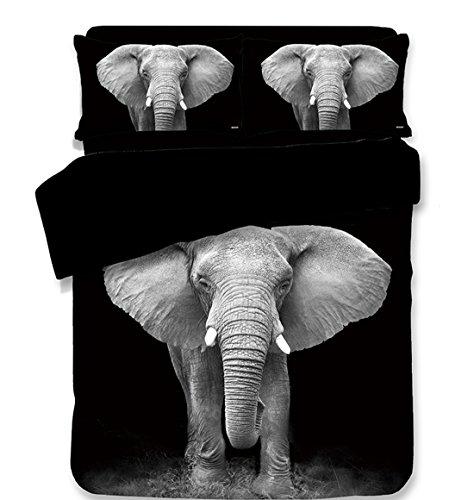 Cnspin Elefant Print Bettwäsche-Set Schlafzimmer König Größe Digitales Drucken 100% Mikrofaser Geschenk, 3 Teilige Bettdecke Mit 2 Kissenbezügen, B, 150X200Cm -