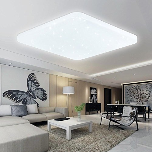 VINGO 60W LED Deckenleuchte Kaltweiß Deckenlampe Esszimmer Deckenbeleuchtung Schlafzimmer Lampe Modern Badlampe Energiespar Markantes Design Starlight AC176V-242V 50/60HZ, acryl, Weiß Eckig