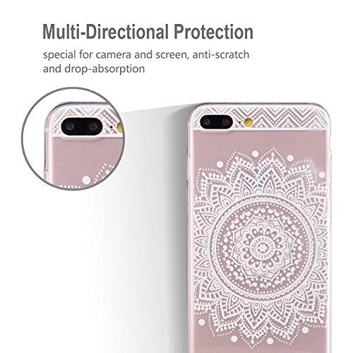 iphone 7 Plus Hülle, E-Lush TPU Soft Silikon Tasche Transparent Schale Clear Klar Hanytasche für iphone 7 Plus (5.5 Zoll) Durchsichtig Rückschale Ultra Slim Thin Dünne Schutzhülle Weiche Flexibel Hand Weißes Mandala