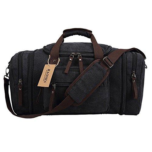 BAOSHA HB-21 Unisex Canvas Sporttasche Reisetasche Großräumige Handtasche Schultertasch Handgepäck Weekender Tasche Vintage Segeltuch Sporttasche für Reise (Grau) Schwarz