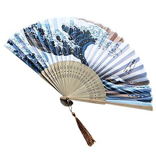 QinMM Japanischer Handfächer, Japanischer Kühlschrank-Handfaltbarer Fächer mit traditionellem Ukiyo-e Kunstdruck Handfächer Fit Hochzeitsfest Geschenk (B)