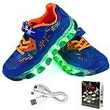 LED Zapatos,Shinmax Primavera-Verano-Otoño Transpirable Zapatillas LED 7 Colores Recargables Luz Zapatos de Deporte de Zapatillas con Luces Para Niños Niñas con CE Certificado (27 EU, Azul Oscuro-)