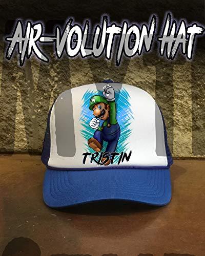 Mythic Airbrush Personalisierte Airbrush Luigi Trucker Hysteresen-Hut Eine Grösse passt allen Schwarzer Hut Shirt Trucker Hut