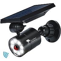 Luz de solar Exterior LED con Sensor de Movimiento,1400LM 5W(110W Equ.) Iluminación de Seguridad,DrawGreen Aleación de aluminio Luces Solares de impermeable para Patio Exterior, Jardín, Porche, Garaje