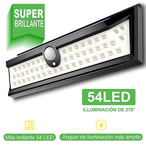 54 LED Luz Solar Exterior GRAN´T Iluminación Exterior Led de 270° Luz Solar Jardin con Sensor de Movimiento Focos Solares Jardin Led Exterior Impermeable Piscina IP64 Lampara Solar Exterior Jardin de Patio y Camino