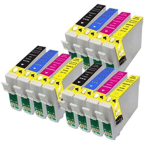12 Compatible Cartuchos de tinta Epson para Epson Stylus S22 SX125 SX130 SX420W SX425W SX445W BX305F BX305FW SX230 SX235W SX445W SX435W SX430W SX438W SX440W Impresora. 3x + 3x T1281 Negro T1282 Cian T1283 Magenta + 3x + 3x T1284 Amarillo