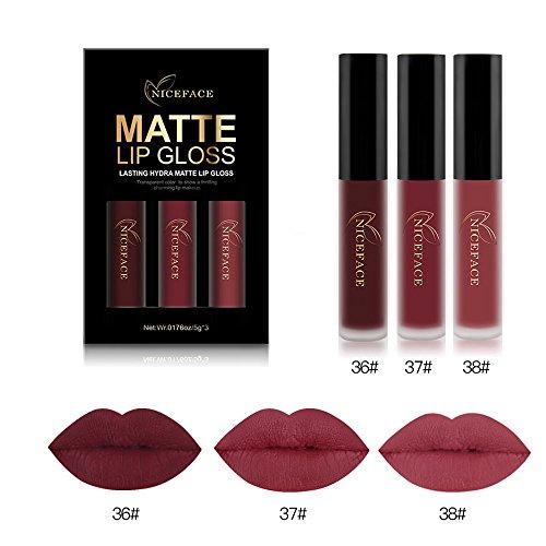 MRURIC 3pcs / set lipgloss kit Sexy Nude Matt Glossy Lipgloss, Damen Sexy Matt Mineral Lippenstift Active Moisturizing Formel Lippenstift Kosmetik Makeup, Shades Wasserdichte Langlebige Lip gloss (A)