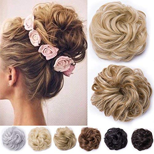 Chignon capelli finti extension elastico biondo ponytail hair extensions toupet donna scrunchie posticci ricci, biondo scuro/biondo chiarissimo