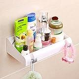 Leefe Mensola da bagno con potente ventosa, non richiede fori, con 2 ganci nascosti, ideale per organizzare shampoo e prodotti per il bagno Silver